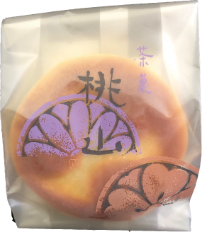 【桃山】 三つ巴の模様に形どった、こしあん入りの焼き菓子です。